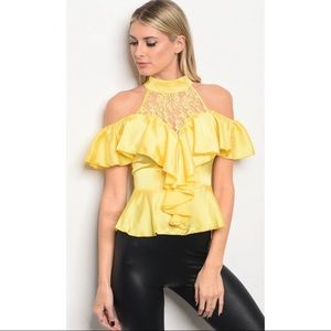 Banjul Yellow Lace Front Off the Shoulder Top